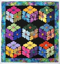 Flower boxes quilt pattern | Details By Diane.  Flowers in the shape of tumbling blocks.