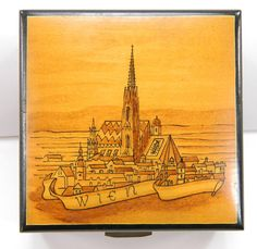 Februholz Music Box Footed Wood Wien by QueeniesCollectibles