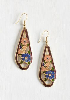 Nouveau Wave Earrings. Youve been hit with a hankering for Art Nouveau-inspired style, and with these teardrop-shaped earrings surrounding your smile, you can tell its not just a phase! #blue #modcloth