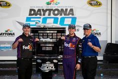 Mike Wheeler, Denny Hamlin, and Joe Gibbs with their Daytona 500 rings Kyle Busch Motorsports, Nascar Season, Daytona 500, Race Cars, Racing, Fan, American, Drag Race Cars, Running