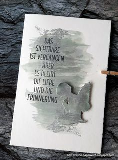 Einfach unerklärlich (paperwitch) - New Ideas Diy And Crafts, Paper Crafts, Watercolor Cards, Big Shot, Sympathy Cards, Stamping Up, Greeting Cards Handmade, Cardmaking, Hand Lettering