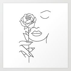 Illustration about Woman face with rose flower. Continuous line drawing. Illustration of drawn, elegant, character - 142574958 Illustration about Woman face with rose flower. Continuous line drawing. Illustration of drawn, elegant, character - 142574958 Pencil Art Drawings, Art Drawings Sketches, Easy Drawings, Rose Line Art, Rose Art, Minimalist Drawing, Minimalist Art, Outline Art, Abstract Line Art