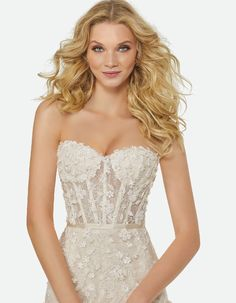 LINDA by RANDY FENOLI // Soft, Beaded, Three Dimensional Flowers and Lace Appliqués on a Strapless, Sheer Bustier Bodice with a Modified A-Line Tulle Skirt with Soft Godets and Matching Jacket.