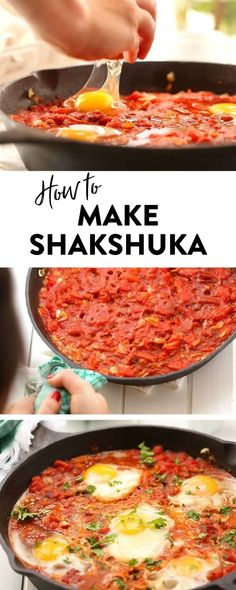 Have you wanted to learn how to make shakshuka? This easy shakshuka recipe teach… Wollten Sie lernen, wie man Shakshuka … How To Make Shakshuka, Easy Shakshuka Recipe, Shakshuka Recipes, Healthy Breakfast Recipes, Healthy Cooking, Vegetarian Recipes, Healthy Eating, Cooking Recipes, Healthy Recipes