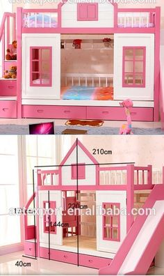 Bunk bed with stairs and slide Three Princess Cottage Bunk Bed With Slide Home Garden Kids Teens At Home Furniture Ebay Pinterest Wood Bunk Bed With Stairs And Slide Option Ava And Adalyn In 2019