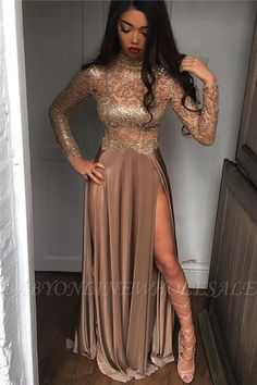 Sexy Sheer High-Neck Side-Slit Long-Sleeves Prom Dresses [Item Code: PD003]      US$  189.0