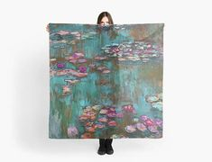 Scarf Monet / Water Lillies scarf/wrap Foulard carré Monet, Scarf Wrap, Tote Bag, Bags, Painting, Water, Square Scarf, Handbags, Gripe Water
