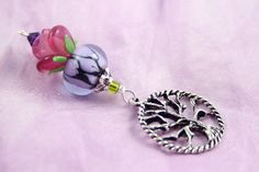 Blessingway bead - Morning Dew Rose Tree of Life - Mother Blessing bead, mama goddess, baby shower gift, placenta tree, pregnancy gift