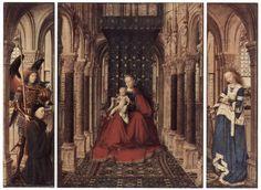 Jan van Eyck-Trittico di Dresda,lMadonna col Bambino, santa Caterina, san Michele e un donatore,1437, olio su tavola, 33,3x54,7 cm, Dresda, Gemäldegalerie   Il piccolo altare portatile è co stituito da cinque riquadri su quercia le cui dimensioni sono 27,5 X 21,5 da chiuso e 27,5 x 37,5 da aperto( stesura pittorica). Con tutta la cornice ancora originale, misura rispettivamente 33 X 27,5 e 33 X 53,5. Sulle ante esterne appaiono a grisaglia le figure dell'Annunciazione.