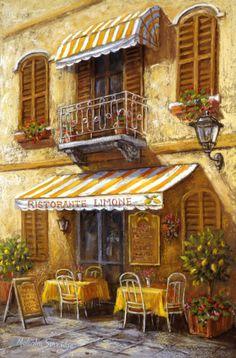 Dining Al Fresco (Malcolm Surridge) Katsura Kotonoha, Watercolor Architecture, Illustration Art, Illustrations, Cafe Art, Room Pictures, Urban Sketching, Mellow Yellow, Beautiful Paintings