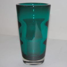 1950s Vintage Modernist Whitefriars Green Blue Tumbler Glass Vase Baxter No 9584