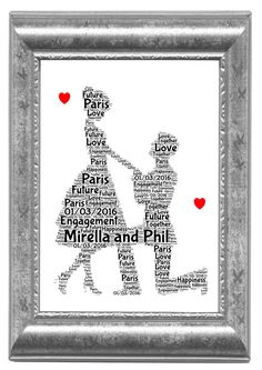 Engagement gift  Wedding  Couple Personalised Word Art Print Unique Gift A4 Print Only by SandraCraftyCardz on Etsy