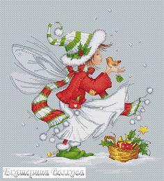 christmas pixie with bird Cross Stitch Fairy, Xmas Cross Stitch, Cross Stitching, Cross Stitch Embroidery, Cross Stitch Patterns, Vintage Christmas Cards, Christmas Cross, Christmas Embroidery, Christmas Illustration