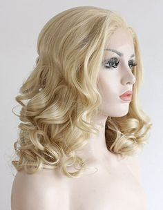 K'ryssma Lace Front Wigs - Fashionable Short Bob Cut Soft Wavy Blonde Wig Medinum Length Heat Resistant Glueless Synthetic Wigs for Women 16 Inches + 2 Pcs Free Wig Caps