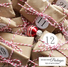 Wrap gifts with brown paper and tie with festive string. Add numbers for advent or names for personalization. #Christmas #holidays