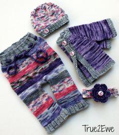 4 Piece Newborn Girl Merino Ruffle Longies Set: Hat, Headband, Sweater www.True2Ewe.com