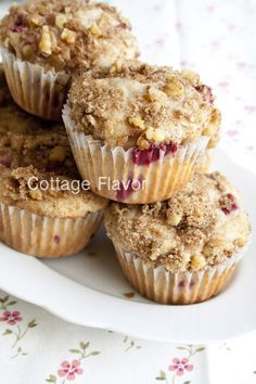 Cottage Flavor: Cinnamon-Plum Muffins with Streusel Topping
