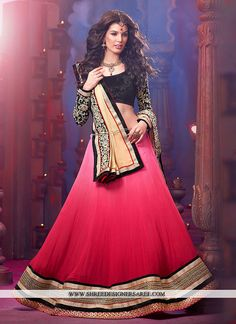 'Heart Beats' Georgette Ombre Pink #Lehenga w/ Black Gold Border and Choli