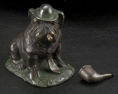 Bull Dog with Cigar and Pipe Bronze Sculpture T.P.