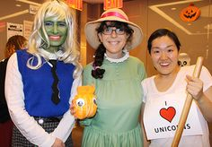 A varied group of Little Brown staffers: (from l.) Jon Reitzel as Frankie Stein from the Monster High series; Marisa Finkelstein as Sophie Hatter from Howl's Moving Castle; and Aram Kim as the little boy in You Don't Want a Unicorn.