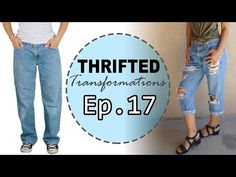 How To Make Boyfriend Jeans - Video - DIY - How To Make Cropped Boyfriend Jeans From Thrift Store Jeans