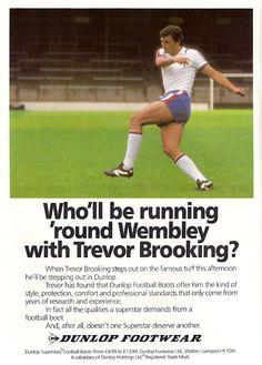 f9ff02974baa Dunlop ad featuring Trevor Brooking - 1980 Trevor Brooking, Football Boots,  Football Team,