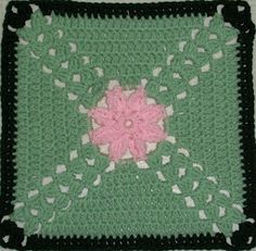 Crochet the way Monet once painted and make your own Monet's Lily Square. Learn how to crochet a small flower and surround it with brush stroke-like crochet stitches. Pretty pastel colors are framed by a black border.