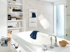 Stonewood Beam in a white balanced bathroom application.
