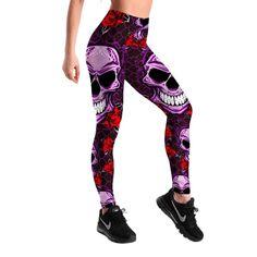 Skull Purple Red Rose Leggings | Skullflow Sports Leggings, Printed Leggings, Workout Leggings, Skull Leggings, Women's Leggings, Tribal Leggings, Black Leggings, Tights, Fit Women