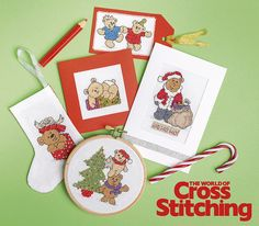 Designed by Jenny Barton.Festive teddies, featured in issue 221 of The World of Cross Stitching.