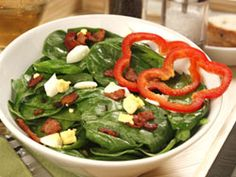 Spinach Salad with Hot Bacon Dressing | mrfood.com
