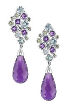 Stunning 14K White Gold Assorted Gemstone Drop Earrings