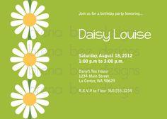 Green Daisy Birthday Shower Party Invitation by brenabeedesigns, $10.00