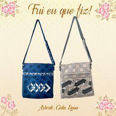 Bolsinhas feitas pela artesã Cida Lima usando como base os tecidos 4604 - Azulejo bicolor azul e 4603 - Azulejo bicolor creme da coleção Azulejo Marroquino.  Ficaram um charme!
