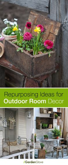 Repurposing Ideas for Outdoor Room Decor! - - We found some great inspirational repurposing ideas for outdoor room decor. just in case your creative juices are running a little low! Outdoor Rooms, Outdoor Gardens, Outdoor Living, Outdoor Office, Outdoor Projects, Garden Projects, Backyard Projects, Outdoor Ideas, Deco Champetre