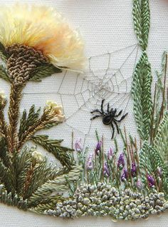 Embroidery Designs Brazilian Embroidery - Fall scene / spider and web - from Edmar thread site <> (fabric, fiber, textile art) Embroidery Designs, Embroidery Art, Cross Stitch Embroidery, Machine Embroidery, Embroidery Needles, Simple Embroidery, Embroidery Supplies, Modern Embroidery, Embroidery Digitizing