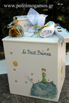 Σετ κουτί βάπτισης Μικρός Πρίγκιπας | Ανθοδιακοσμήσεις | Χειροποίητες μπομπονιέρες και προσκλητήρια | Είδη γάμου και βάπτισης | Politimogamos.gr Baptism Ideas, Christening, Toy Chest, Diy And Crafts, Candles, London, The Petit Prince, Bebe, Toy Boxes