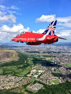 RAF Red Arrows over Belfast.