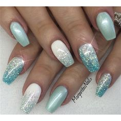 40 Mermaid Acrylic Nails On Trend This Year why not to go for a nail art that portrays sea and a sea creature like mermaid who is almost everyone's favorite mystical creature. Mermaid nails refer to any nail enhancement or gel service with a thin layer of Shellac Nail Designs, Acrylic Nail Designs, Nail Art Designs, Acrylic Nails, Nails Design, Shellac Nails Glitter, Shellac Gel, Glittery Nails, Fancy Nails