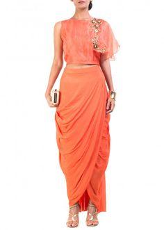 Bright Orange Cape-Croper With Wrap Dhoti Skirt by Anushree Agarwal, Ethnic Gowns Choli Dress, Salwar Dress, Saree Blouse, Indian Designer Outfits, Designer Dresses, Indian Dresses, Indian Outfits, Draped Dress, Bollywood Fashion