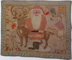 I love replicating antique adaptation rugs but also design my own. Looking at old rugs in Early American Life magazine was my inspiration to learn to hook. Wool Embroidery, Wool Applique, Cross Stitch Embroidery, Christmas Rugs, Antique Christmas, Ring Christmas Bells, Rug Studio, Hand Hooked Rugs, Penny Rugs