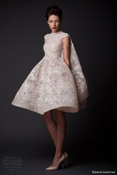 krikor jabotian fall winter 2014 2015 amal short wedding dress cape