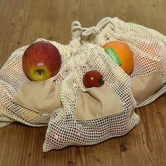 TreeBox Premium Obst- und Gemüsebeutel im 3er Set Serving Bowls, Burlap, Reusable Tote Bags, Tableware, Fruit, Sachets, Products, Dinnerware, Hessian Fabric