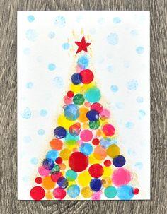 DIY Gestempelte Weihnachtskarte – miss red fox DIY stamped Christmas card – miss red fox Watercolor Christmas Tree, Christmas Wall Art, Preschool Christmas, Christmas Crafts For Kids, Xmas Crafts, Paper Crafts, Canvas Crafts, Summer Crafts, Fall Crafts