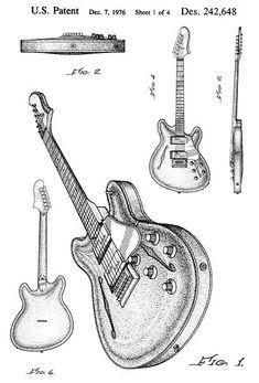 USA Patent Gibson Les Paul Signature ES Guitar Drawings