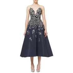 Carolina Herrera Floral-Embroidered Strapless A-Line Cocktail Dress ($6,990) ❤ liked on Polyvore featuring dresses, indigo, strapless dresses, a line dress, sweetheart cocktail dresses, floral embroidered dress and sweetheart dress
