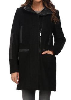 【ヴィンスカムート】 Vince Camuto Stand Collar Wool J8271 ジップアップウールコート 【並行輸入品】 BONBOTTE (Medium, 1.Black)