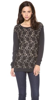 sweater with lace detail / graham & spencer
