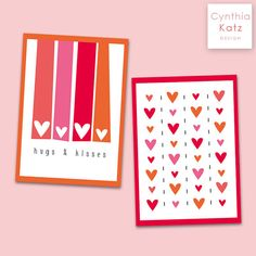 4 Valentines Day Post Cards // Colorful Heart by #CynthiaKatzDesign #ValentinesDay #diycard