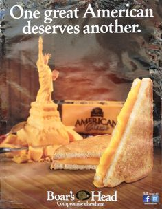 Boar's Head advertisement using the Statue of Liberty in cheese